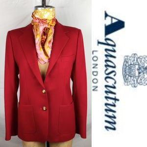 AQUASCUTUM of LONDON RED WOOL CLASSIC BLAZER